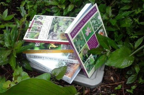A stack of permaculture books
